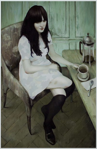 "iheartmyart:  Jonathan Viner, A Pale Girl in Pale Camo, 24"" x 36"", oil on panel, 2009"