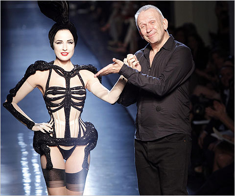 Dita Von Teese modeling (and, well, stripping) Jean Paul Gaultier's beautiful skeleton-styled pieces.  (Image via The New York Times)