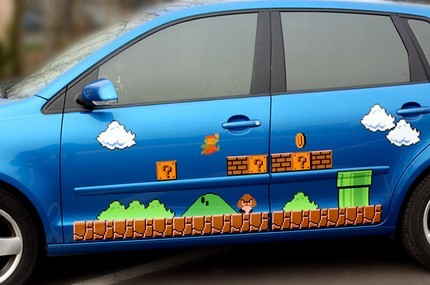pigtailsandcombatboots:  Super Mario Vinyl Car Decal Sticker, on etsy