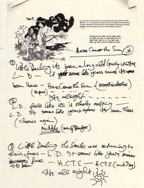 freecocaine:   George Harrison's Here Comes the Sun lyrics   (via bohemea)