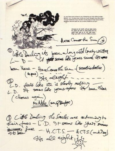 elektrischfuhlen:  freecocaine:   George Harrison's Here Comes the Sun lyrics (via bohemea)