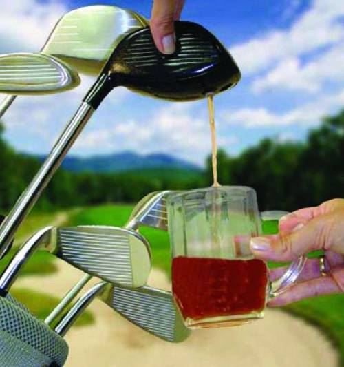 kenmat:  risingtensions:  gluagluaglua: Golf Club Drink Dispenser via www.sharperimage.com