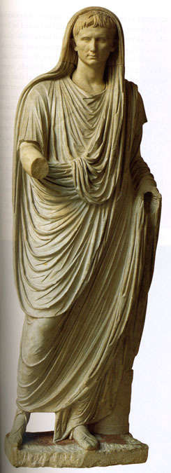 fuckyeaarthistory:  The emperor Augustus as Pontifex Maximus Marble c. 40 CE In the collection of the Museo Nazionale Romano, Rome.
