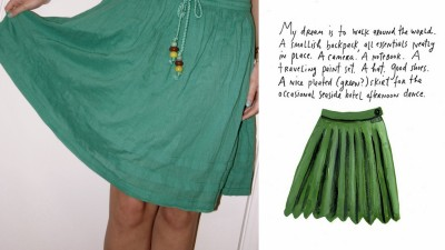 A nice green skirt.  GPOYW v.015 - I bought this skirt because this illustration popped into my head when I saw it. Yep.