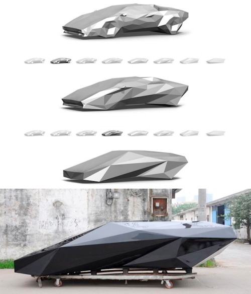 Batman's next car? Want one. proofmathisbeautiful:  crookedindifference:  ilikewhatyousee:  lo res project x united nude: by lowering the resolution of 3D models of products, the object becomes more and more fragmented, changing its character in the process. they've used this technique on a lamborghini countach and the result is quite nice.