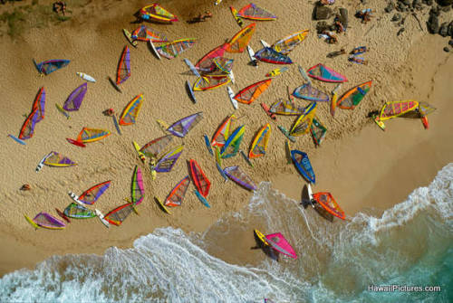 Windsurf parking… Windsurfers en la playa Hookipa (Hawaii)
