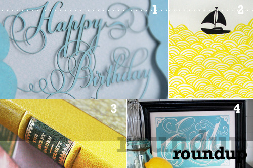 Roundup of a color scheme I've been seeing a lot lately: yellow + blue. script birthday card by cardspotting bigger boat screenprint by mengsel the secret garden by thornwillow press eatblue by roll & tumble press