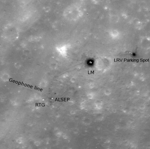 glxp:  Just posted today: the latest photo from the NASA LRO of the Apollo 16 landing site. Astronauts Charles Duke and John Young stepped foot on this location in 1972, and even drove around in the Lunar Roving Vehicle (LRV).