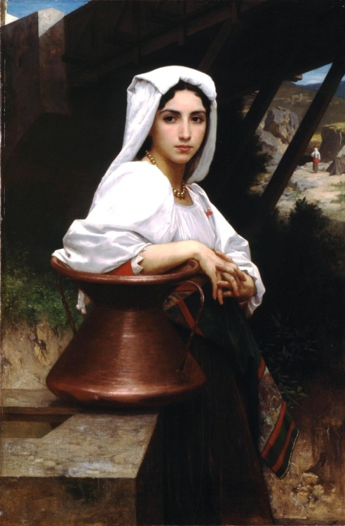 theuglyearring:my-ear-trumpet:missyolie: William-Adolphe Bouguereau (1825-1905) -Italian Girl Drawing Water (1871) I think this is just simply beautiful. It also reminds me of my mysterious and beautiful grandmother Carmela Mercuri who unfortunately I never got to meet because she died when my father was 10 years old, in her sleep, of unknown causes.