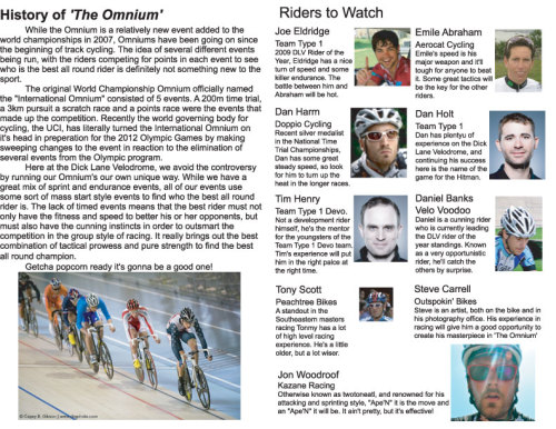 These are some of the racers competing this weekend at Dick Lane Velodrome's The Omnium.  Great preview!  Also check my preview of Encino Velodrome's Attack Of The Track People for more track racing action going down this weekend.