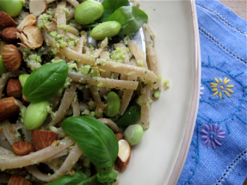 hellyeahrecipes:  Pasta with Edamame Pesto 1 cup edamame, cooked and shelled, a few whole beans reserved  1/4 cup roasted almonds, a few nuts reserved  1 cup fresh mint, a few small sprigs reserved  1 small cove of fresh garlic  1/2 cup extra virgin olive oil  salt and freshly ground pepper  1/2 pound farro or other whole wheat pasta Start a large pot of salted water to boil. Combine the edamame, almonds, mint, garlic, olive oil and seasonings in a bowl of a food processor or blender and blend until a rough paste is formed. Meanwhile, cook the pasta until al dente, drain, return to the pot and stir in the pesto.  Taste for seasonings and serve with the reserved edamame, almonds and mint sprinkled over the top.