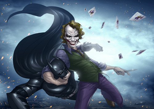 Patrick  Brown puts his unique artistic spin on Batman and the Joker. Joker is one sadistic bastard and I love it. Excellent piece of artwork! Why So Serious by Patrick  Brown