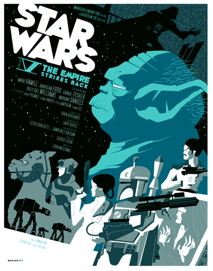 bunch:  The Empire Strikes Back poster by Tom Whalen. See more of his amazing work »