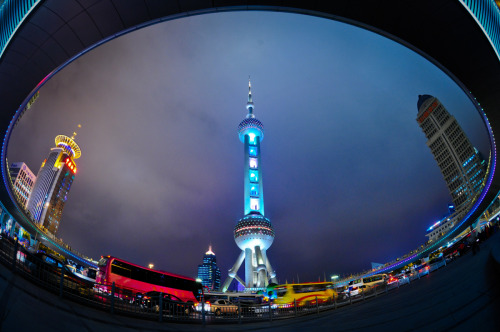 Oriental Pearl TowerLujiazui, Shanghai, China Oriental tower has always been one of the landmark of Pudong area, and one of the most commonly taken photo from the Bund across the river. In April 2010, Shanghai launched the USD11mil elevated pedestrian walkway connecting lujiazui and century avenue, in preparation for the world expo. This provided the perfect opportunity for tourist and photographers alike to have a elevated and undisturbed platform to take photos of the Oriental tower as well as the pudong financial district.