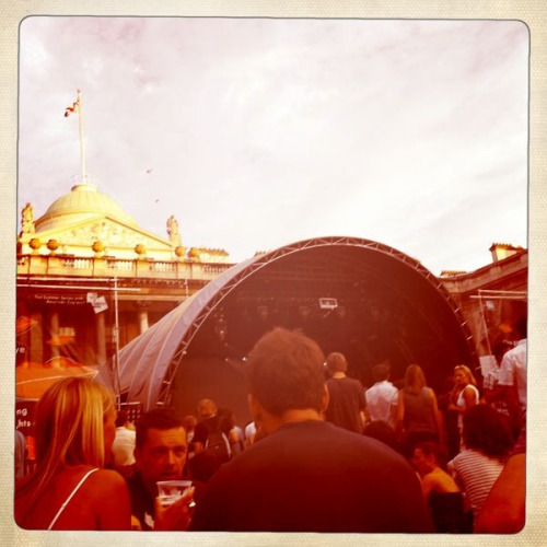 Watching Villagers warm up for Noah and the Whale at Somerset House's Summer Series.