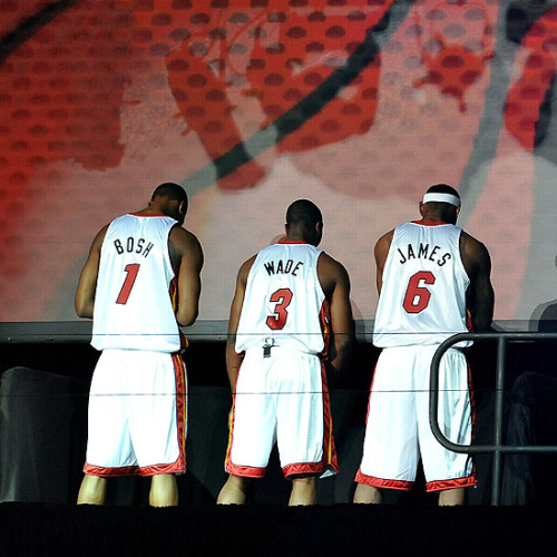 The Trio of the Miami Heat, bein' introduce… Can't wait the start of the up coming season of the NBA….
