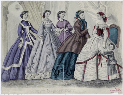 Godey's fashions for January 1866. I love love love the first dress on the right! If it were an extant example it would totally get a thousand notes.