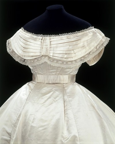 Detail of a Massachusetts wedding dress, 1867.