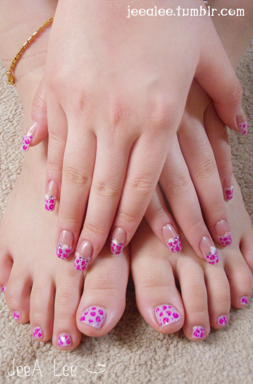 Leopard Nails With Matching Toes~ Sheer Shimmering Nude Base With Lavender French Tips.  Hot Pink And Purple Leopard Print.  Pink And Purple Stones And Pink And White Hearts
