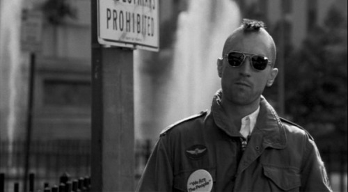 "TAXI DRIVER ""YOU TALKIN' TO ME?"" Story has it that Robert De Niro's Mohawk was not actually real, due to the fact that De Niro still had to shoot scenes for the film with hair after the Mohawk sceness.  Makeup artist Dick Smith created a bald cap that was glued to De Niro's head– the mohawk was made from horse hair."
