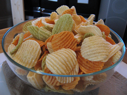 I had an embarassing amount of these chips last night… after 9 pm with no protein to accompany them.  Apparently my body was craving salt or carbs or whatever so I just went with it!  Soooo good!  I decided to be good and not bring any to work today to snack on, but guess what?  The deli in my building has them, so I just consumed the 100 calorie pack.  Thank goodness for portion control! YUM! (Photo via)