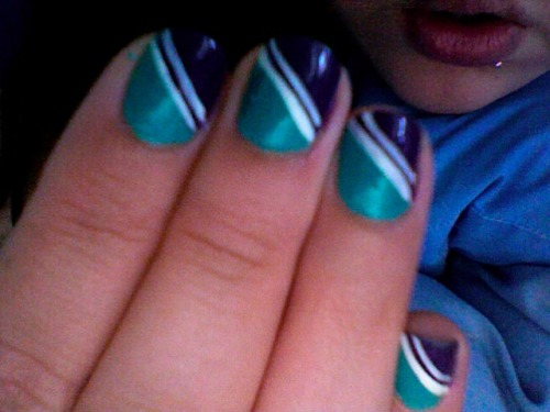 RIP mint/purple nails with racing stripes. I only did these on Saturday, but in my new surgery rotation they are a no no. Theres no place for this flyness in a TPLO I guess.
