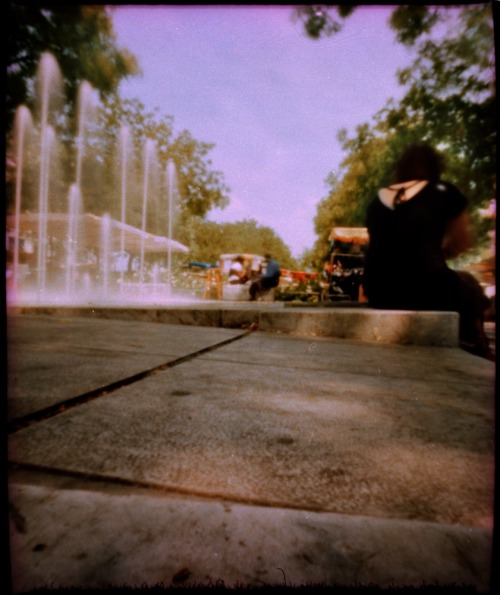 Fountains at the Bastille market | Shot with a Zeroimage Pinhole | Cross Processed Fujichrome Provia 100F