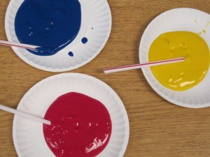 Polk-a-dots and straws in preschool