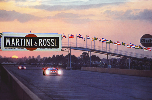 Sunset at Sebring, 1970. Leading is the Ferrari 512S.