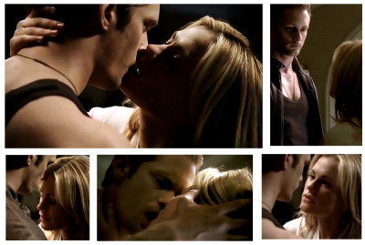 Team Eric/Sookie, reblogging for the hot smooches. ;-) imhereforsookie:  Now this is the really Kiss!…double burn! …Team Bill/Sookie remember it's all in fun…