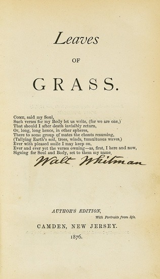 Leaves of Grass - Author's Edition Whitman, Walt.  6th Edition. Camden, 1876   Illustrated with two portraits of Whitman. 8vo, 1/2 morocco, binding defective, with early partial rebacking, soiled tips and spine; hinges crudely reinforced, large chip to one front blank; ad leaf bound at rear. Signed by Whitman on title-page.   via Swann Galleries