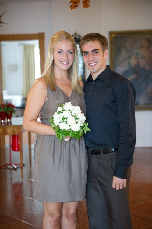 Philipp  Lahm and his wife Claudia