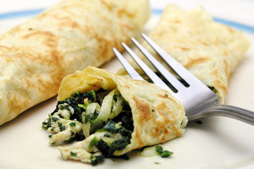 jojochao: chicken and spinach crepe