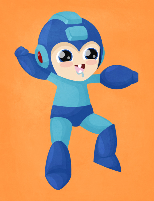 Oh, look at that! Baby Mega Man is drooling on himself while he prepares to disintegrate old man Wiley. Mega Man by Becky / demiurgic (Tumblr)