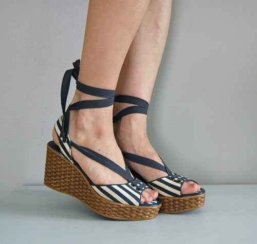 Shoes of the day: vintage SEASIDE STRIPE platforms