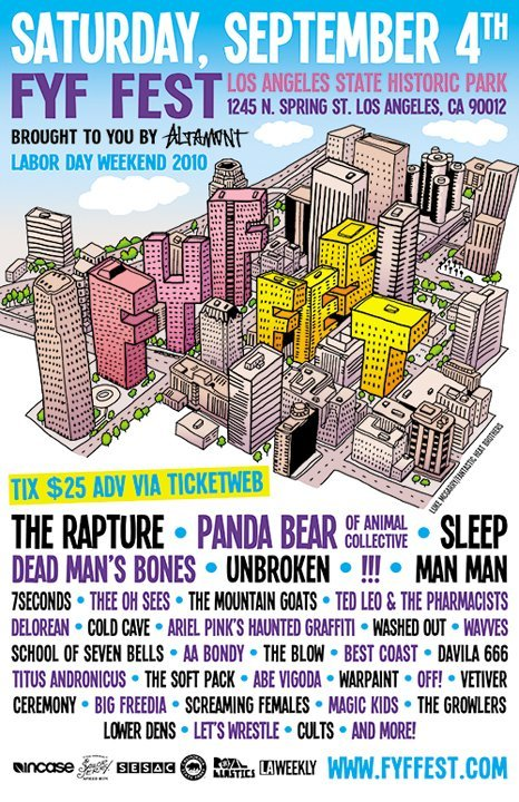 The lineup has been announced for the annual FYF Fest in Los Angeles. It's an impressive assortment of acts including the Cabaret doo-wop styling of Dead Man's Bones and Viking-vaudeville rockers Man Man. The event is all ages and will happen on Saturday Sept 4th at the Los Angeles State Historic Park, 1245 N. Spring Street. VIP tickets are $65 and allow access to the VIP lounge located where there will be games and drink specials. These ticket holders will also have a separate entrance where they will receive a very special tote bag upon arrival. You can purchase VIP tix here. [via ANTI-] Definitely not missing this!