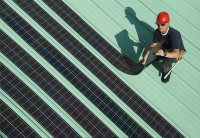 smarterplanet:  New Rollable Solar Panels Make Roof Installations a Snap! | Inhabitat - Green Design Will Save the World We cover a lot of solar panel technologies here at Inhabitat — some are pie in the sky, some are a few years down the road and some are exciting products that are actually available today. SoloPower's new flexible rolling solar panels are in the latter group, and they stand to significantly reduce production and installation costs. With a notable 11% efficiency, the easily-installed thin-film panels may be able to give traditional silicon panels a run for the money.