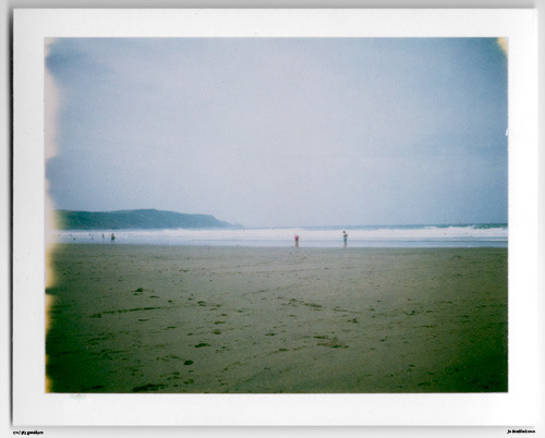 Day 170. Bathing Beauties. Widemouth Bay, Cornwall, UK.   Polaroid Land Camera 240 and 125i film (expired 12/2007).   Polaroid photograph, all rights reserved, copyright: Jo Bradford 2010