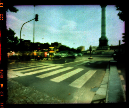 Bastille Traffic Pinhole | Crossprocessed Fujichrome Provia 100F
