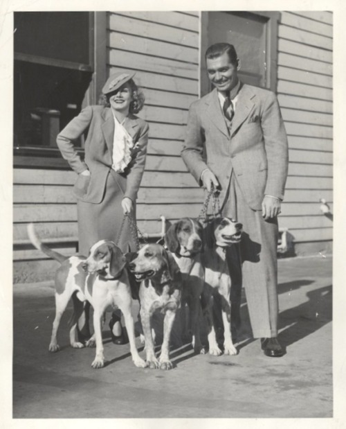 Jean Harlow and Clark Gable with some friends 1930s