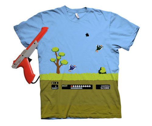 "adriess:  thedailywhat:  Tee of the Day: ""8 Bit Spray N' Pray"" by m 2 designs. In a perfect world, this tee would be playable. (Like it? Want it? Vote it up on Threadless!) [likecool.]"