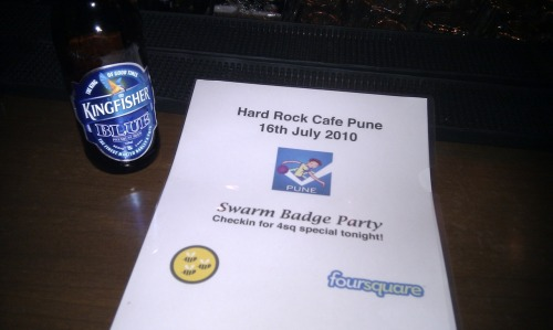 the first ever @foursquare Swarm Badge Party at Hard Rock Cafe #Pune - @4sqPUNE rocks!!!