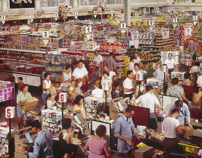 1964. The Super Giant supermarket in Rockville, Maryland. Color transparency by John Dominis, Life magazine photo archive.