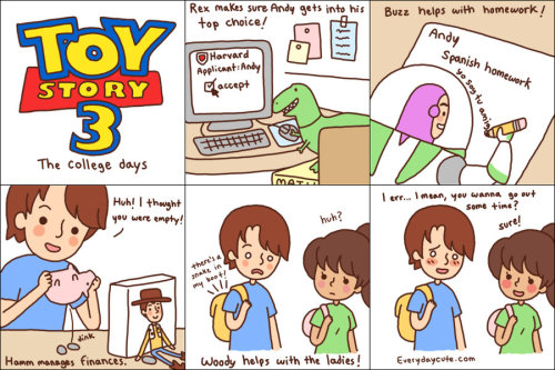 Toy Story 3 : the College Days by Everyday Cute.  Don't worry, no actual spoilers here!