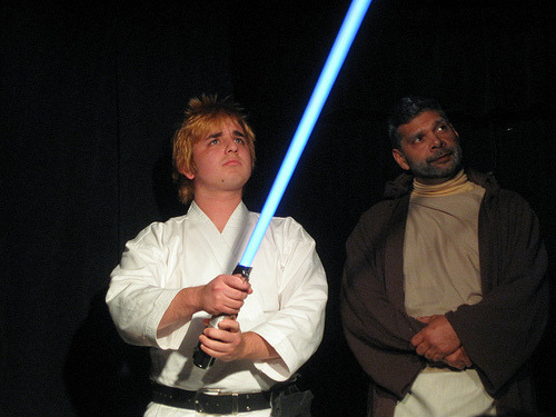 Joe Gorman holding wrong colored lightsaber. All who know him will tell you he'd be a Sith.