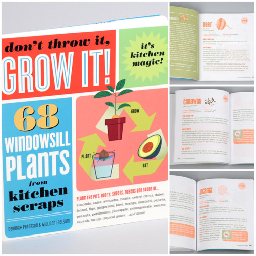 Product Envy #006: Don't Throw It, Grow It: 68 Windowsill Plants from Kitchen Scraps by Deborah Peterson on BuyOlympia.com. This brings back fond childhood memories of jamming toothpicks into avocado pits! Super fun—I'm all about becoming a mad kitchen botanist! Book Description: Eat your vegetables, and then plant them. Plant the pits, roots, shoots, and seeds of almonds, anise, avocados, beans, celery, citrus, dates, fennel, figs, ginger root, kiwi, mango, mustard, papaya, peanuts, persimmon, pineapple, pomegranate, sesame, squash, turnip, tropical guava…and more.You can also have houseplant fun with fruits, nuts, herbs, and spices. From the common carrot to the exotic cherimoya, dozens of foods have pits, seeds, and roots waiting to be rescued from the compost bin and brought back to life on your windowsill.Planted and nurtured, the shiny pomegranate seeds left over from breakfast, and the neglected piece of ginger root in your refrigerator will grow into a healthy, vigorous houseplants—kitchen experiments in the wonder of botany.