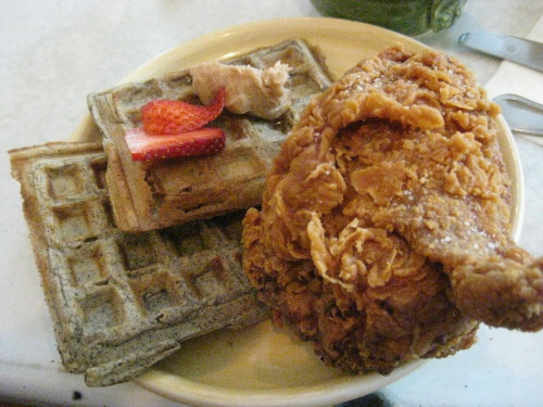Chicken & Waffles. The skin was nice and crispy, and meat was very juicy. Waffles were a nice addition. I had no idea maple syrup was so delicious with fried chicken!  Pies 'n Thighs166 S 4th St (at Driggs)Brooklyn, NY 11211http://piesnthighs.com/