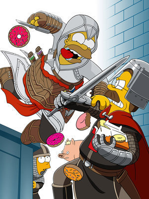 mapboy:  Homer as Altair? It's okay to break the 3 tenants of the assassin's creed If donuts are involved. Mmmm…Donuts. Image by Makotron