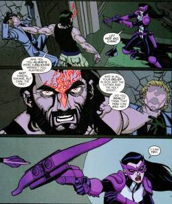 Vandal Savage/Cain blames Huntress and Question for his predicament. Even when odds are stacked completely against her, she's always going to take action - Huntress is a person of action. She's wired to fight. She doesn't know another way.