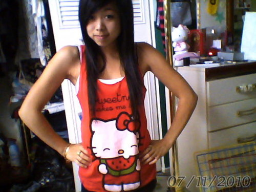 """sweetness makes me smile"" :D hello kitty watermelon tank"